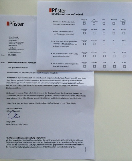 Pfister Brief Feedbackformular
